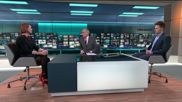 goverment to publish employer league tables england london gir int natalie graeme and ben southwood studio interview sot - itv lunchtime news stock videos & royalty-free footage