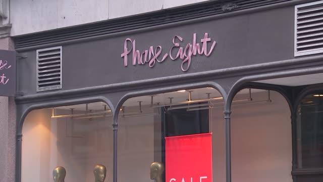 Phase Eight shopfront ENGLAND London EXT Various shots of Phase Eight clothing store