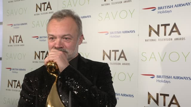 six bbc male presenters agree pay cut lib / 2512017 o2 centre national television awards 2017 int graham norton interview in winners' room - bbc video stock e b–roll