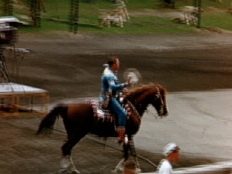 gene autry on horse at canadian national exhibition toronto ontario canada - horse family video stock e b–roll