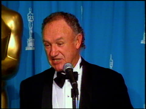 gene hackman at the 1993 academy awards at dorothy chandler pavilion in los angeles california on march 29 1993 - dorothy chandler pavilion stock videos and b-roll footage