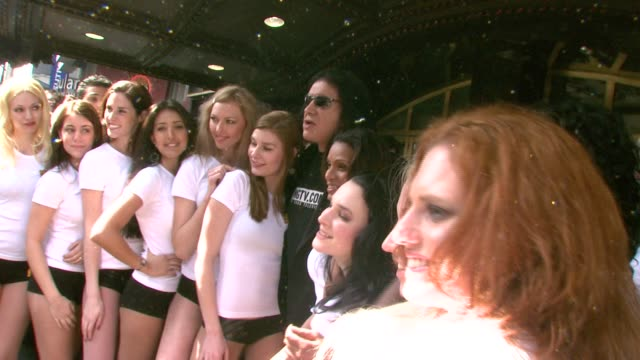 gene simmons and models at the world's first 'assvertising' campaign created by gene simmons and 25 female models at hard rock cafe in new york, new... - gene simmons stock videos & royalty-free footage