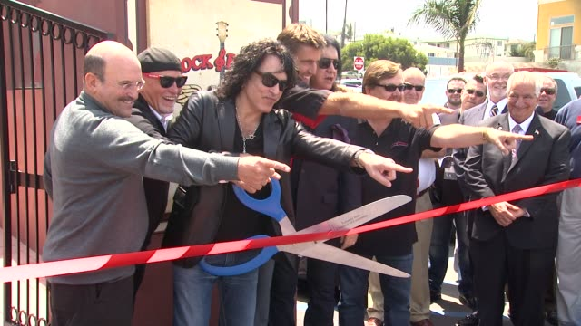 gene simmons and paul stanley at grand opening of kiss' restaurant 'rock brews pacific coast highway' gene simmons and paul stanley at grand opening... - torrance stock videos & royalty-free footage