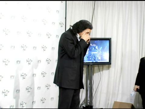 gene simmons at the 2004 american music awards press room at the shrine auditorium in los angeles, california on november 14, 2004. - shrine auditorium stock videos & royalty-free footage