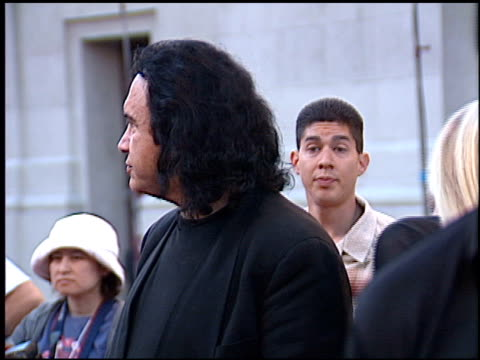 gene simmons at the 'blood work' premiere at warner brothers in burbank, california on august 6, 2002. - gene simmons stock videos & royalty-free footage