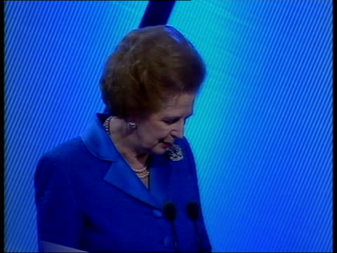 Alternative politics LIB ENGLAND Plymouth Baroness Thatcher speech SOT Mr Blair says he wants to lead in Europe but the price of that is that he's...