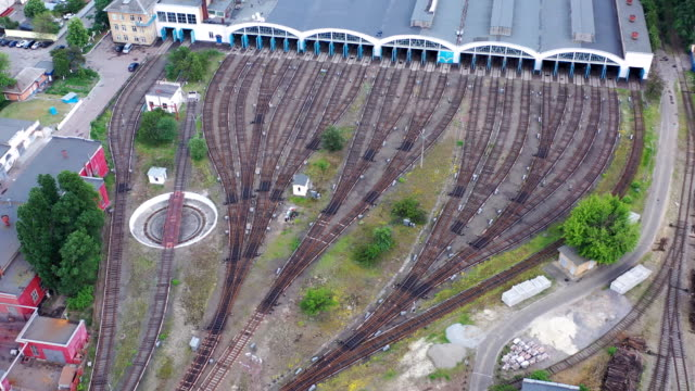 general aerial view of subway train depot - ukraine stock videos & royalty-free footage