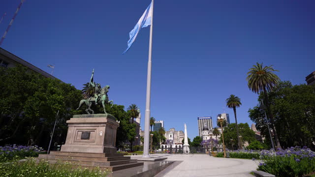 general belgrano monument - argentinian flag stock videos & royalty-free footage