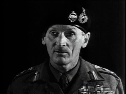 vídeos de stock, filmes e b-roll de general bernard montgomery makes an inspirational speech to factory workers / united kingdom - bernard l. montgomery