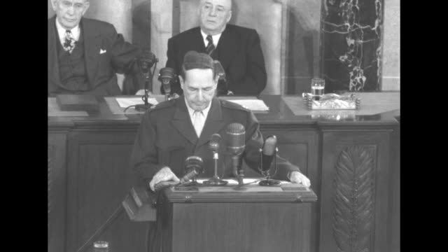 general douglas macarthur, at lectern, speaks to a joint session of the us congress, as vice president alben barkley and speaker of the house sam... - rebuilding stock videos & royalty-free footage