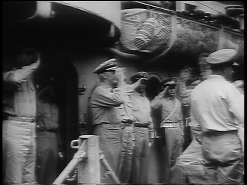 general douglas macarthur walking up gangplank of uss missouri saluting others - uss missouri stock videos and b-roll footage