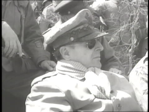 us general douglas macarthur wears his full uniform scarf and sunglasses - general macarthur stock videos and b-roll footage