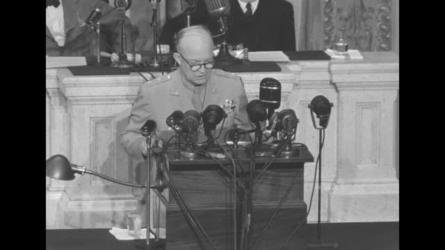 us general dwight eisenhower addresses joint session of congress in washington dc after allied victory in europe [lip flap throughout varying audio... - sam rayburn stock videos and b-roll footage