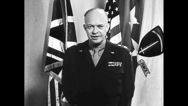 vídeos de stock, filmes e b-roll de general eisenhower speaking to camera about the nazi defeat on the western front during wwii / he says 'teamwork wins wars' - formato bruto