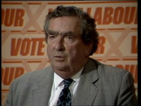denis healey claims there is no way the alliance could form a government england london transport house int denis healey mp press conference sot if... - general election stock videos & royalty-free footage