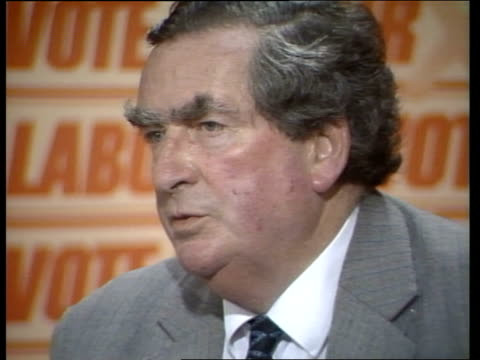 general election 1983: denis healey comments on thatcher comments / labour support; **no reporter voiceover** england: london: transport house: denis... - gerald kaufman stock videos & royalty-free footage