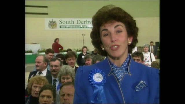 stockvideo's en b-roll-footage met general election 1992: special: 02.00 - 03.00:; england: london: itn: int jon snow live studio south derbyshire: edwina currie live 2-way interview... - david steel politiek