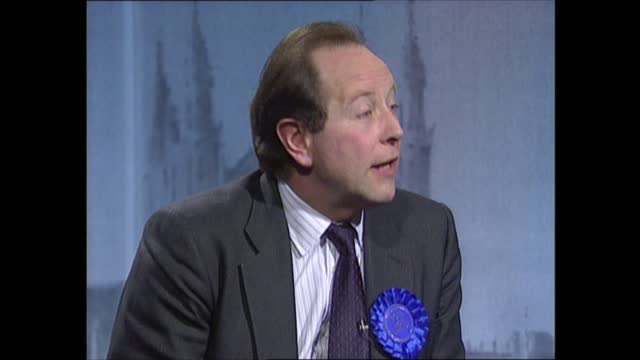 general election 1992: special: 02.00 - 03.00:; england: london: itn: int jon snow live studio robin day interviews archie hamilton and matthew... - robin day stock videos & royalty-free footage