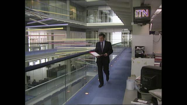general election 1992: special: 22.00 - 23.00:; england: london: gir: int sir robin day into building and along itn reporter john suchet along - robin day stock videos & royalty-free footage