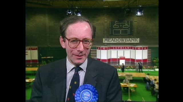 general election 1992: special: 22.00 - 23.00:; scotland: ayr: int live ballot boxes at count pull out mark smith to camera sot stirling: live... - pull out camera movement stock videos & royalty-free footage