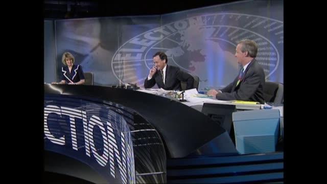 stockvideo's en b-roll-footage met general election 1992: special: 23.00 - 24.00:; england: london: itn: int sir david steel and michael heseltine live 3-way interview sot 23.18.56... - david steel politiek