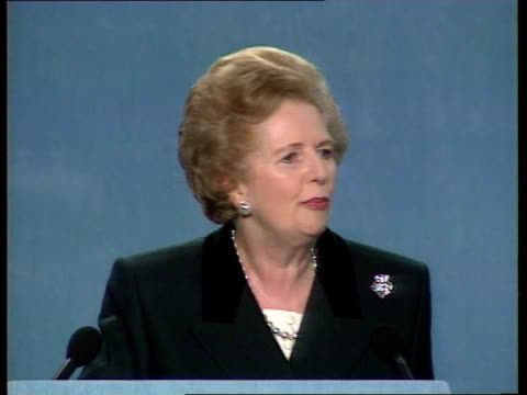 Thatcher at Conservative rally/ Campaigns ENGLAND London QE2 Conference Centre CMS Former PM Margaret Thatcher amp current Cons Party ldr PM John...