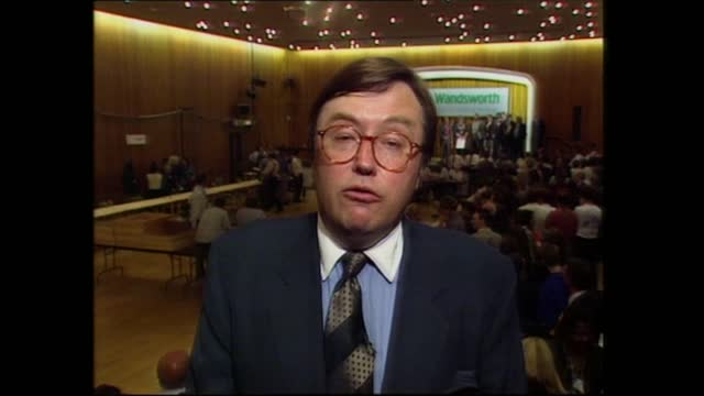 general election 1997: special: 01.00 - 02.00:; england: london: gir: int studio jonathan dimbleby david mellor live intvw ex putney sot - should... - david dimbleby stock videos & royalty-free footage