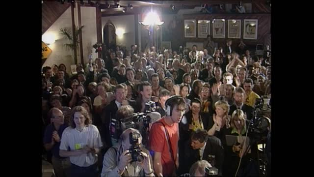 general election 1997: special: 04.00 - 05.00:; england: london: gir: int studio jonathan dimbleby and michael brunson u'lay: somerset: yoevil: pizza... - richard dimbleby stock videos & royalty-free footage