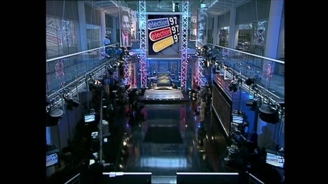 general election 1997: special: 10.00 - 11.00:; england: london: gir: int studio jonathan dimbleby london: islington: ext live press at tony blair's... - david dimbleby stock videos & royalty-free footage