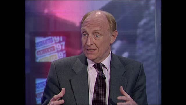 general election 1997: special: 10.00 - 11.00:; england: london: gir: int studio neil kinnock interview sot. - very happy / shed tears of joy this... - bridle stock videos & royalty-free footage