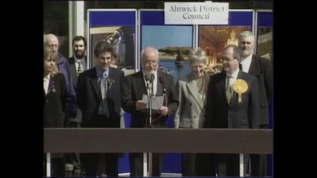 general election 1997: special: 11.00 - 12.00:; england: london: gir: int studio michael brunson chat with jonathan dimbleby studio sir david steel... - david dimbleby stock videos & royalty-free footage
