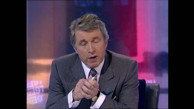 general election 1997: special: 11.00 - 12.00:; england: london: gir: int studio sir david steel live interview sot . - alan beith has improved his... - david dimbleby stock videos & royalty-free footage