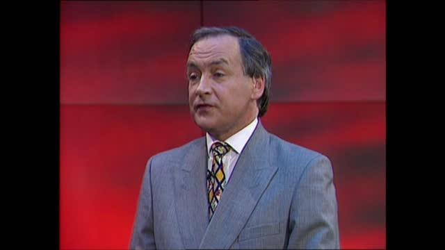 general election 1997: special: 13.00 - 14.00; studio jonathan dimbleby & michael brunson studio alastair stewart studio colin rallings on latest... - david dimbleby stock videos & royalty-free footage