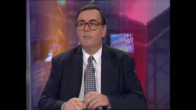 general election 1997: special: 22.00 - 23.00:; england: london: gir: int studio jonathan dimbleby studio professor colin rallings , david butler and... - david dimbleby stock videos & royalty-free footage
