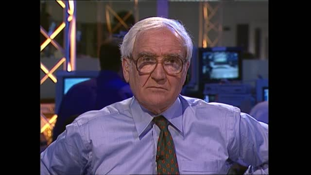 general election 1997: special: 23.00 - 00.00:; england: london: gir: int studio jonathan dimbleby studio alastair stewart studio dimbleby and... - david dimbleby stock videos & royalty-free footage