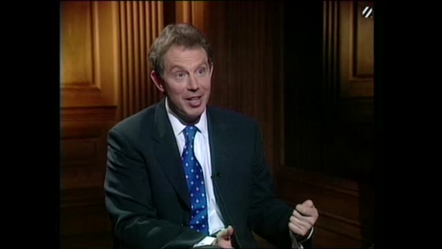 tony blair live interview on channel 4 news england avon bristol tony blair live interview sot talks of prospects of a single currency / public... - financial accessory stock videos & royalty-free footage