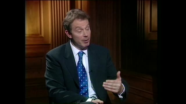 general election 1997: tony blair live interview on channel 4 news:; england: avon: bristol: tony blair live interview sot - windfall tax not... - document stock videos & royalty-free footage