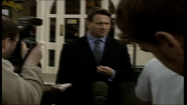Campaign underway Portillo in Leeds ITN ENGLAND West Yorkshire Leeds EXT Michael Portillo MP chatting to Tory party workers / Portillo speaking to...