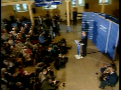 Conservative Party Asylum seeker policy ITN ENGLAND Kent Dover William Hague along thru supporters TILT UP to i/c INT William Hague speech SOT as a...