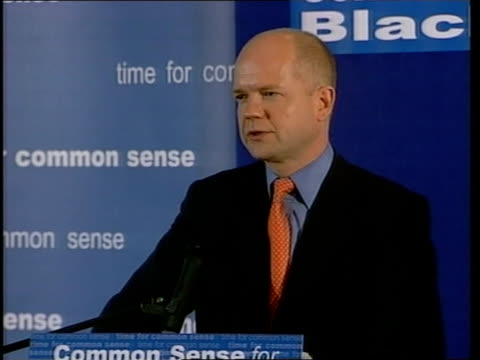 europe row jospin speech/reactions itn england lancashire blackpool william hague from campaign bus to cheers pan wife ffion hague int william hague... - cherie charles stock videos & royalty-free footage