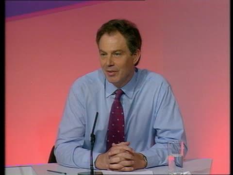 general election 2001: prescott punch aftermath; england: london: millbank: int tlms education and employment secretary david blunkett to podium for... - prescott arizona stock videos & royalty-free footage