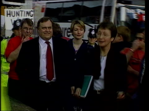 general election 2001: prescott punch aftermath; lib wales: rhyl: prescott being struck by egg thrown by protestor craig evans and punching him in... - prescott arizona stock videos & royalty-free footage