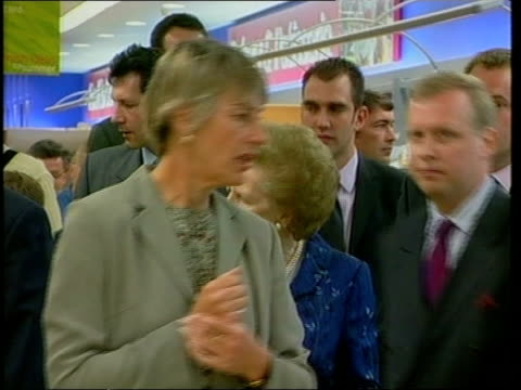 tory comments on labour landslide itn england yorkshire bradford conservative party leader william hague shaking hands with people as leaving rally... - cherie charles stock videos & royalty-free footage