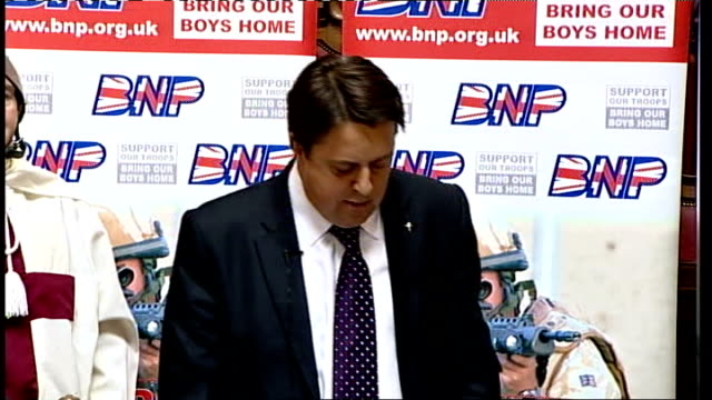 bnp manifesto launch england staffordshire stokeontrent photography** nick griffin speech at bnp manifesto launch sot the real cost of immigration to... - newly industrialized country stock videos & royalty-free footage