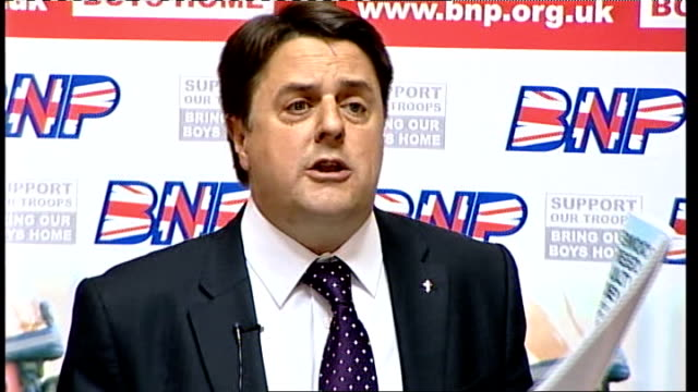 BNP manifesto launch Nick Griffin speech continues SOT The manifesto is comprehensive realistic popular all online at BNPorguk and we hope the media...