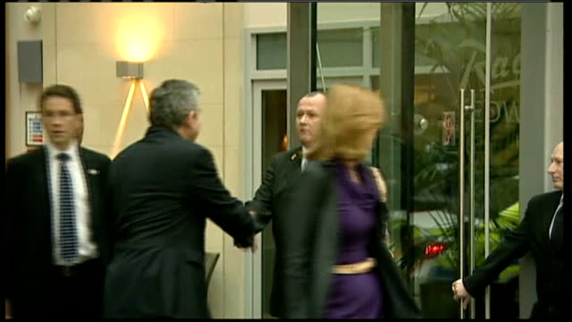 Brown leaves hotel in Manchester ENGLAND Yorkshire Manchester EXT Gordon Brown MP his wife Sarah Brown and political aides including Sue Nye along in...
