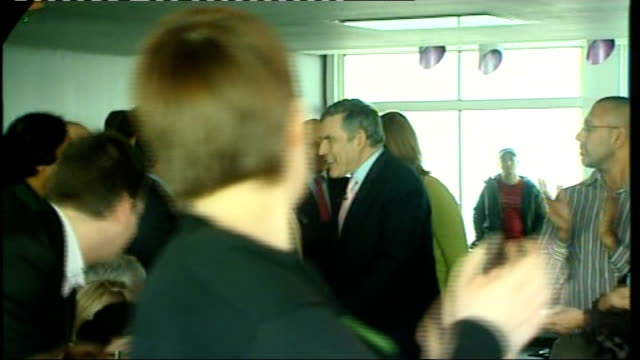 campaigning brown speech at centrepoint cutaways england london oxford street centrepoint int prime minister gordon brown mp standing with wife sarah... - ゴードン ブラウン点の映像素材/bロール