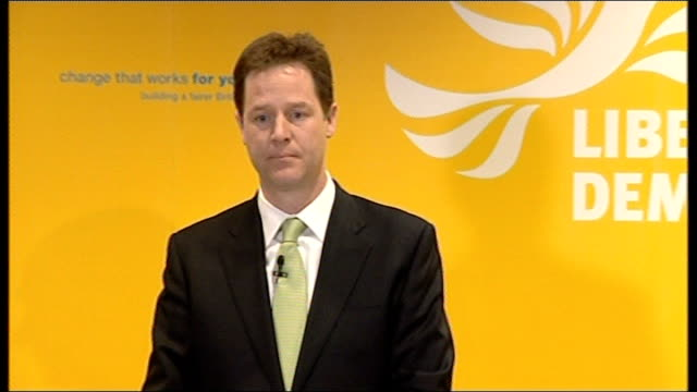 general election 2010: campaigning continues: clegg press conference attacks bankers; - government didn't hold the bankers to account / gordon brown... - modern rock stock videos & royalty-free footage