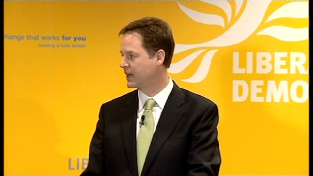 Campaigning continues Clegg press conference attacks bankers ENGLAND London INT Nick Clegg press conference SOT Allegations about alleged fraud in...