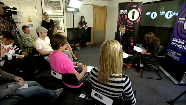 general election 2010: campaigning continues: gordon brown bbc radio q&a session; england: london: int gordon brown mp into bbc radio 1 studio as... - bbc radio stock videos & royalty-free footage